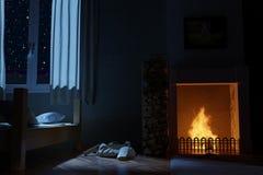 rendu 3d de chambre à coucher avec la cheminée la nuit profond illustration stock