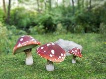 rendu 3D de champignon d'agaric de mouche trois Photos stock