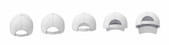 rendu 3d de cinq casquettes de baseball blanches montrées dans une ligne dans une vue arrière dans différents angles illustration stock