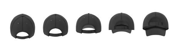 rendu 3d de cinq casquettes de baseball noires montrées dans une ligne dans une vue arrière dans différents angles illustration stock
