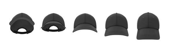 rendu 3d de cinq casquettes de baseball noires montrées dans une ligne dans une vue de face mais dans différents angles illustration stock