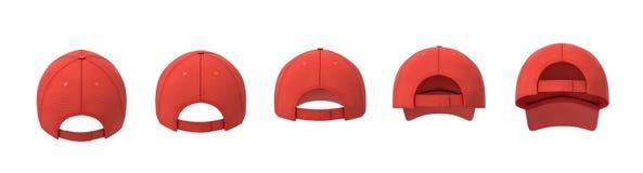 rendu 3d de cinq casquettes de baseball rouges montrées dans une ligne dans une vue arrière dans différents angles illustration libre de droits