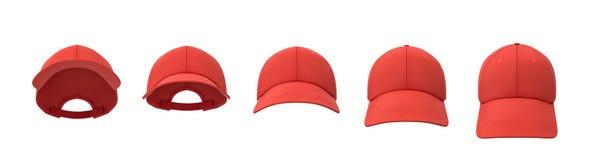 rendu 3d de cinq casquettes de baseball rouges montrées dans une ligne dans une vue de face mais dans différents angles illustration libre de droits