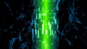 rendu 3D de concept durable à semi-conducteur d'énergie de batterie Lumières rougeoyantes vertes avec le tube de pointe sur le fo illustration stock