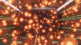 rendu 3d de couloir futuriste de l'espace du sci fi avec les formes et les conceptions abstraites vertes au n?on sur le mur et le illustration de vecteur