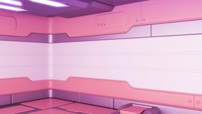 rendu 3D de couloir réaliste de vaisseau spatial de la science fiction illustration de vecteur