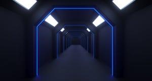 rendu 3d de couloir sombre de la longue science fiction avec les lumières bleues minces Illustration Stock
