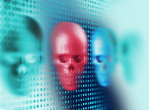 rendu 3d de crâne sur le fond de technologie Images stock