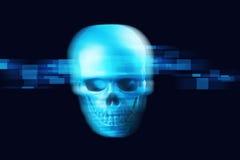 rendu 3d de crâne sur le fond de technologie Images libres de droits