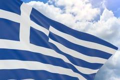 rendu 3D de drapeau de la Grèce ondulant sur le fond de ciel bleu illustration de vecteur