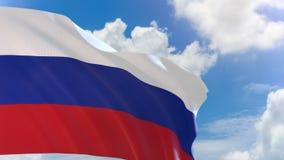 rendu 3D de drapeau de la Russie ondulant sur le fond de ciel bleu avec le canal alpha illustration de vecteur