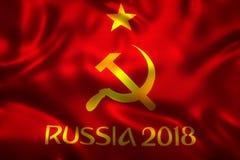 rendu 3D de drapeau pour le football 2018 du monde - tournoi du football du monde en Russie Images libres de droits