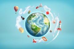 rendu 3d de globe de la terre entouré par de grands objets, comme des fusées, des matrices, des batteries et des boules de billar illustration libre de droits