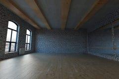 rendu 3d de grenier vide de studio avec les briques blanches illustration stock