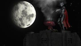 rendu 3D de guerrier sur la tour au fond de lune Image stock