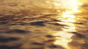 rendu 3d de la belle surface de mer au soleil de soirée Photographie stock libre de droits