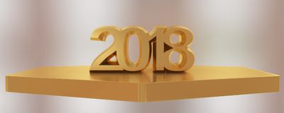 Rendu 3d de la bonne année 2018 Images stock