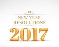 2017 rendu d'or de la couleur 3d de redolutions de nouvelle année sur s blanc Photographie stock libre de droits