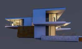 rendu 3d de la maison moderne la nuit d'isolement sur le gris Photos stock