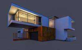 rendu 3d de la maison moderne la nuit d'isolement sur le gris Photos libres de droits