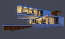 rendu 3d de la maison moderne la nuit d'isolement sur le gris Images stock