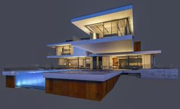 rendu 3d de la maison moderne la nuit d'isolement sur le gris Photo stock