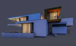rendu 3d de la maison moderne la nuit d'isolement sur le gris Images libres de droits