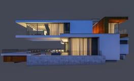 rendu 3d de la maison moderne la nuit d'isolement sur le gris Image stock