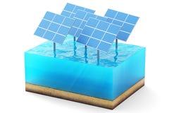 rendu 3d de la section transversale du cube en eau d'isolement sur le fond blanc Panneaux solaires bleus dans la production de me illustration libre de droits