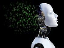 rendu 3D de la tête femelle de robot qui se brise avec les zéros et l'o Photos stock