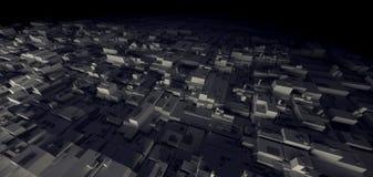 rendu 3D de la ville de cyber d'entrepôt de nuit du taudis, St de l'espace Images libres de droits