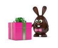 rendu 3d de lapin de Pâques avec le présent Photo stock