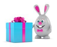 rendu 3d de lapin de Pâques avec le présent Photographie stock libre de droits