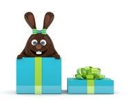 rendu 3d de lapin de Pâques dans le présent Photos stock