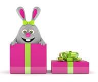 rendu 3d de lapin de Pâques dans le présent Image libre de droits