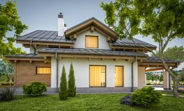 rendu 3d de maison confortable moderne dans le style de chalet Photographie stock libre de droits