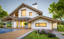 rendu 3d de maison confortable moderne dans le style de chalet Images libres de droits