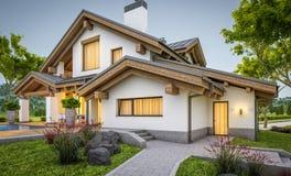 rendu 3d de maison confortable moderne dans le style de chalet Image libre de droits
