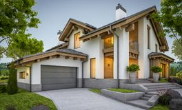 rendu 3d de maison confortable moderne dans le style de chalet Photo stock