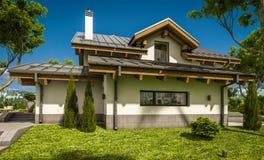 rendu 3d de maison confortable moderne dans le style de chalet Photos libres de droits