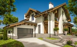 rendu 3d de maison confortable moderne dans le style de chalet Photo libre de droits