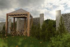 rendu 3d de maison en bois avec le gabion au jardin Photo libre de droits