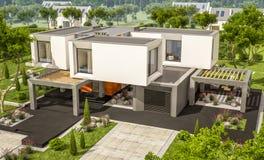 rendu 3d de maison moderne dans le jardin Images libres de droits