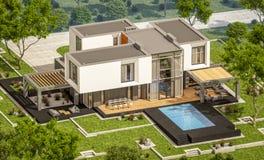rendu 3d de maison moderne dans le jardin Photos stock