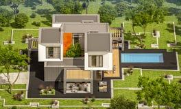 rendu 3d de maison moderne dans le jardin Photos libres de droits