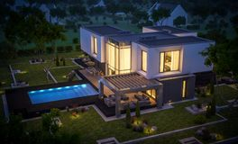 rendu 3d de maison moderne dans le jardin la nuit Images libres de droits