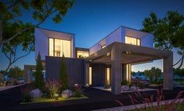 rendu 3d de maison moderne dans le jardin la nuit Photo libre de droits