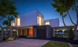 rendu 3d de maison moderne dans le jardin la nuit Photos stock