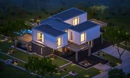 rendu 3d de maison moderne dans le jardin la nuit Photos libres de droits
