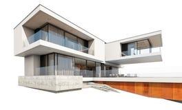 rendu 3d de maison moderne d'isolement sur le blanc Photos stock